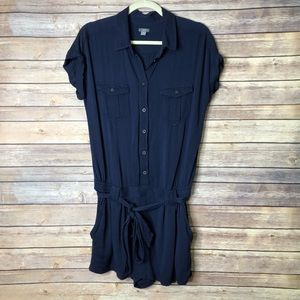 EUC Aerie Military Navy short sleeve Romper M